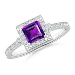 Milgrain-Edged Square Amethyst and Diamond Halo Ring