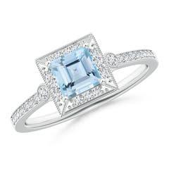 Milgrain-Edged Square Aquamarine and Diamond Halo Ring