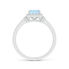 Toggle Milgrain-Edged Square Aquamarine and Diamond Halo Ring