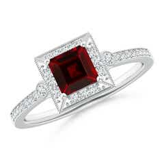 Milgrain-Edged Square Garnet and Diamond Halo Ring