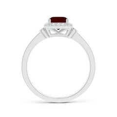 Toggle Milgrain-Edged Square Garnet and Diamond Halo Ring
