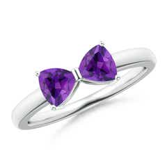 Two Stone Trillion Amethyst Bow Tie Ring