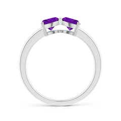 Toggle Two Stone Trillion Amethyst Bow Tie Ring
