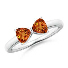Two Stone Trillion Citrine Bow Tie Ring
