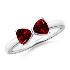 Two Stone Trillion Garnet Bow Tie Ring