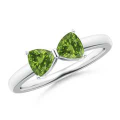 Two Stone Trillion Peridot Bow Tie Ring