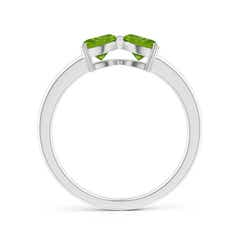 Toggle Two Stone Trillion Peridot Bow Tie Ring