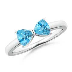 Two Stone Trillion Swiss Blue Topaz Bow Tie Ring