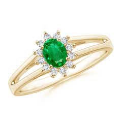 Princess Diana Inspired Emerald Halo Split Shank Ring