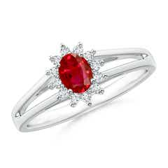 Princess Diana Inspired Ruby Halo Split Shank Ring
