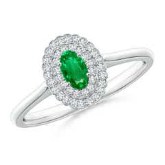 Vintage Style Emerald Scalloped Ring with Double Halo