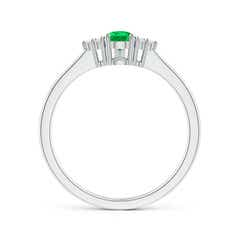 Toggle Pear Emerald Solitaire Ring with Trio Diamond Accents