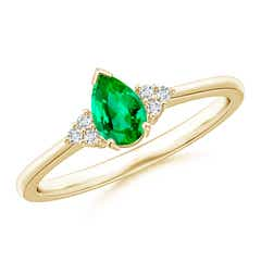 7c12245be Pear Emerald Solitaire Ring with Trio Diamond Accents