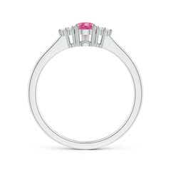 Toggle Pear Pink Sapphire Solitaire Ring with Trio Diamond Accents