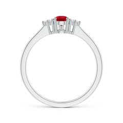 Toggle Pear Ruby Solitaire Ring with Trio Diamond Accents