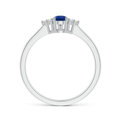 Toggle Pear Sapphire Solitaire Ring with Trio Diamond Accents