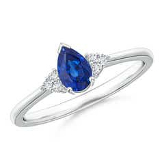 Pear Sapphire Solitaire Ring with Trio Diamond Accents