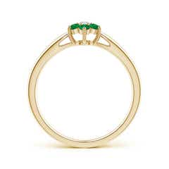 Toggle Classic Six Petal Emerald and Diamond Flower Ring