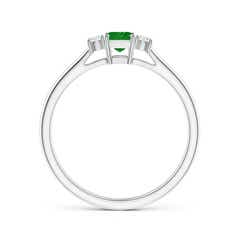 Toggle Classic Square Emerald and Diamond Three Stone Ring