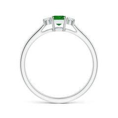 Toggle Classic Square Emerald and Diamond Three Stone Ring