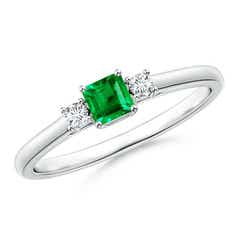 Classic Square Emerald and Diamond Three Stone Ring