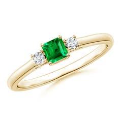 Classic Square Emerald and Diamond Three Stone Ring