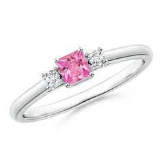 Classic Square Pink Sapphire and Diamond Three Stone Ring