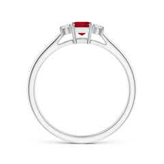 Toggle Classic Square Ruby and Diamond Three Stone Ring