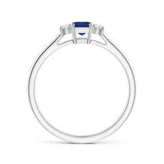 Toggle Classic Square Blue Sapphire and Diamond Three Stone Ring