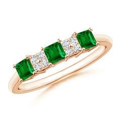 Diamond Cluster and Three Stone Square Emerald Ring