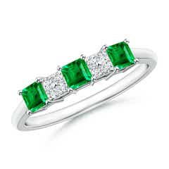 Diamond Cluster and Three Stone Square Emerald Ring