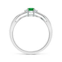Toggle Oval Emerald Crossover Ring with Diamond Accents