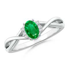 Oval Emerald Crossover Ring with Diamond Accents