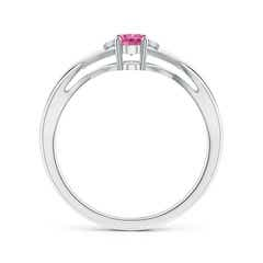 Toggle Oval Pink Sapphire Crossover Ring with Diamond Accents