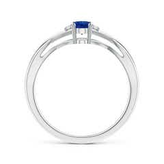 Toggle Oval Blue Sapphire Crossover Ring with Diamond Accents