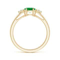 Toggle East-West Emerald Solitaire Ring with Diamonds