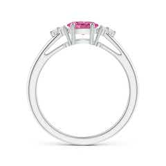 Toggle East-West Pink Sapphire Solitaire Ring with Diamonds