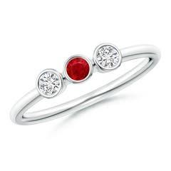 Classic Bezel-Set Ruby and Diamond Three Stone Ring
