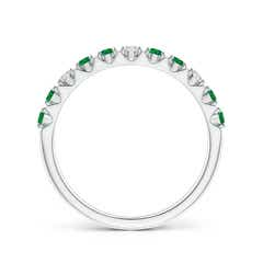 Toggle Round Emerald and Diamond Half Eternity Wedding Ring