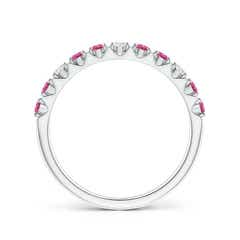 Toggle Round Pink Sapphire and Diamond Half Eternity Ring