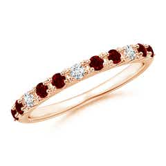 Round Ruby and Diamond Half Eternity Wedding Ring