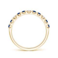 Toggle Round Blue Sapphire and Diamond Half Eternity Ring
