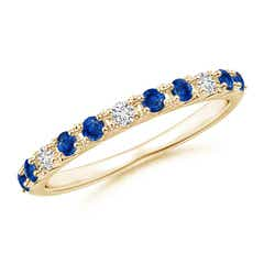 Round Blue Sapphire and Diamond Half Eternity Ring