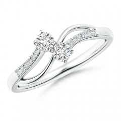 Split Shank Classic Two Stone Diamond Bypass Ring with Diamond Accent