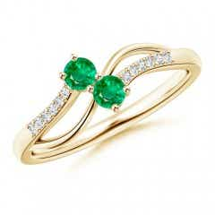 Classic Two Stone Emerald Bypass Split Shank Ring