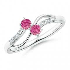 Split Shank Classic Two Stone Pink Sapphire Bypass Ring with Diamond Accent