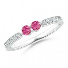 Vintage Inspired Two Stone Pink Sapphire Ring with Diamonds