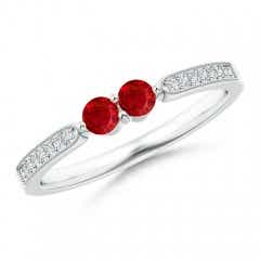 Vintage Inspired Two Stone Ruby Ring with Diamonds