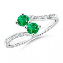 Two Stone Emerald Bypass Ring with Diamond Accents