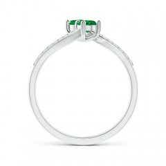 Toggle Two Stone Emerald Bypass Ring with Diamond Accents